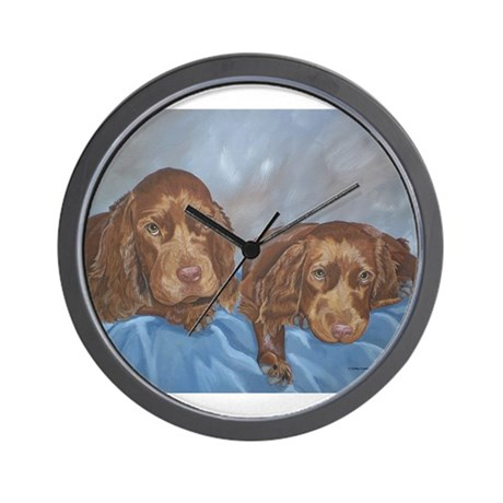 Sussex Spaniel Puppies Painti Wall Clock