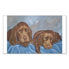 Sussex Spaniel Puppies Painti Sticker (Rectangular