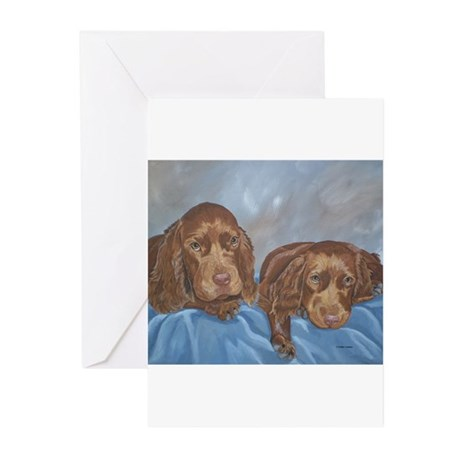 Sussex Spaniel Puppies Painti Greeting Cards (Pk o