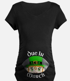 Due In March - Leprechaun Peeking Maternity T-Shir