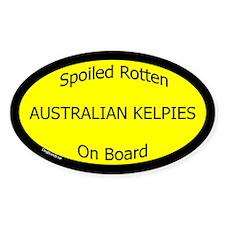 Spoiled Australian Kelpies On Board Oval Decal
