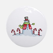 HOLIDAY SNOWMAN Ornament (Round)
