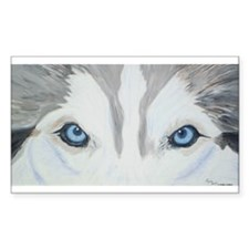 Siberian Husky Blue Eyes Pain Sticker (Rectangular