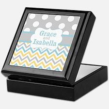 Gray Yellow Chevron Dots Personalized Keepsake Box