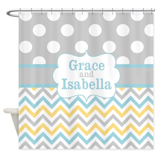 Gray yellow chevron dots personalized shower curta by for Kitchen colors with white cabinets with monogram stickers for cups