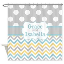 Gray Yellow Chevron Dots Personalized Shower Curta
