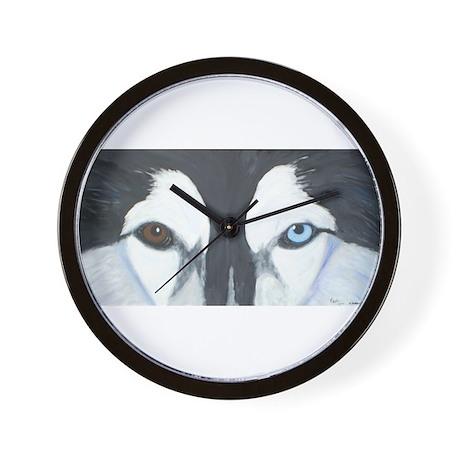 Husky Painting Blue/Brown Eye Wall Clock