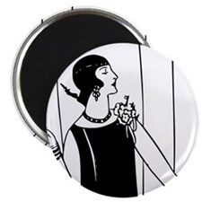 1920s vintage flappers black white drawing Magnets