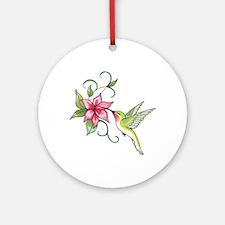 HUMMINGBIRD AND FLOWER Ornament (Round)