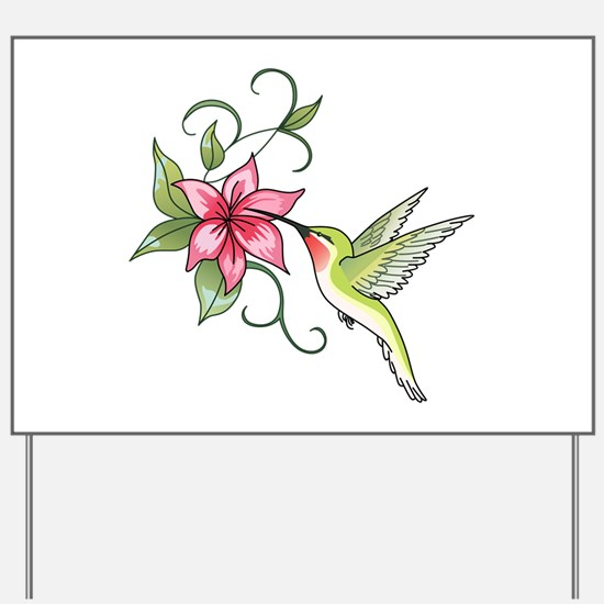 HUMMINGBIRD AND FLOWER Yard Sign
