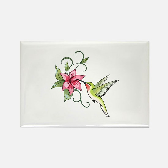 HUMMINGBIRD AND FLOWER Magnets