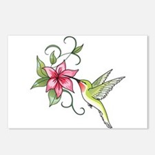 HUMMINGBIRD AND FLOWER Postcards (Package of 8)