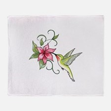 HUMMINGBIRD AND FLOWER Throw Blanket