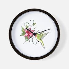 HUMMINGBIRD AND FLOWER Wall Clock