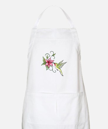 HUMMINGBIRD AND FLOWER Apron