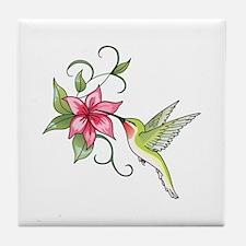 HUMMINGBIRD AND FLOWER Tile Coaster