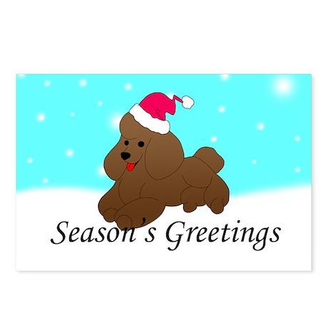Poodle Santa Postcards (Package of 8)