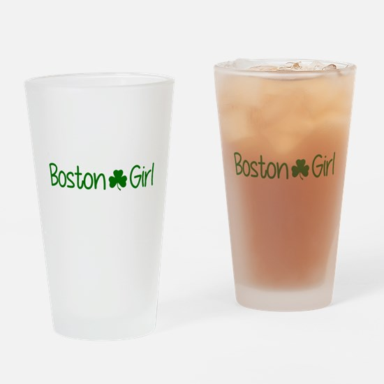 Boston Girl Shamrock (Green) Drinking Glass