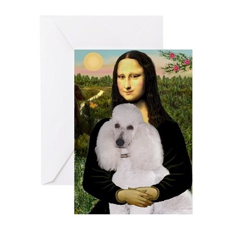 Mona's Standard White Poodle Greeting Cards (Pk of
