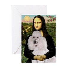 Mona's Standard White Poodle Greeting Card