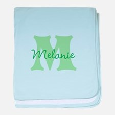 CUSTOM Green Monogram baby blanket