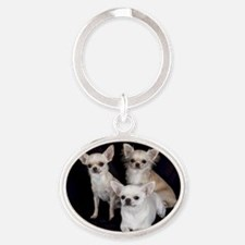 Adorable Chihuahuas Oval Keychain