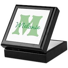 CUSTOM Green Monogram Keepsake Box
