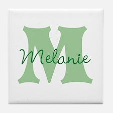 CUSTOM Green Monogram Tile Coaster