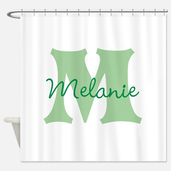CUSTOM Green Monogram Shower Curtain