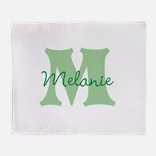 CUSTOM Green Monogram Throw Blanket