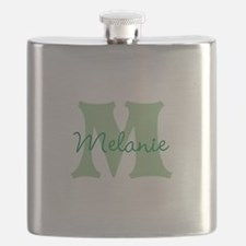 CUSTOM Green Monogram Flask