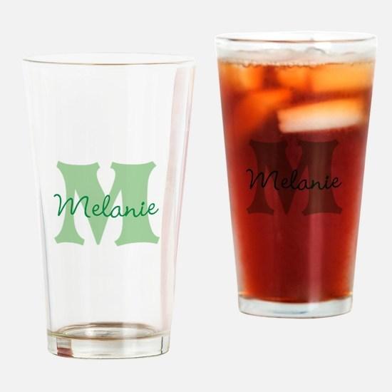 CUSTOM Green Monogram Drinking Glass