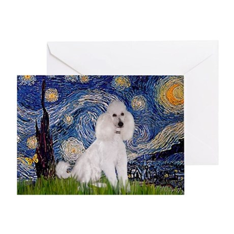 Starry Night White Poodle Greeting Card