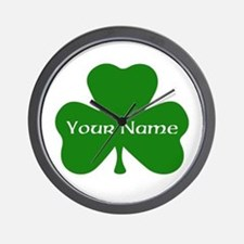 CUSTOM Shamrock with Your Name Wall Clock