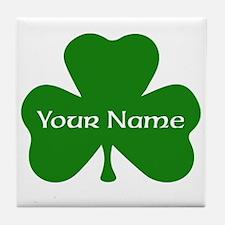 CUSTOM Shamrock with Your Name Tile Coaster