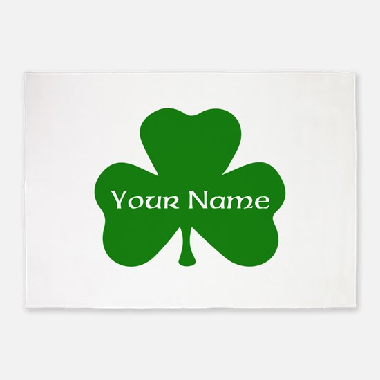 CUSTOM Shamrock with Your Name 5'x7'Area Rug