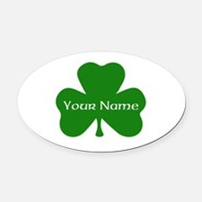 CUSTOM Shamrock with Your Name Oval Car Magnet