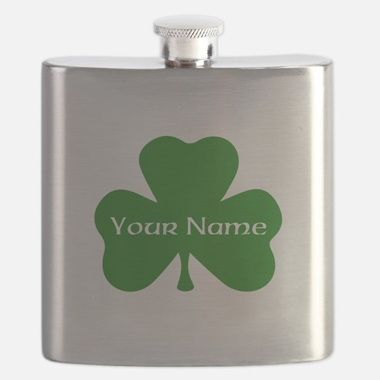 CUSTOM Shamrock with Your Name Flask