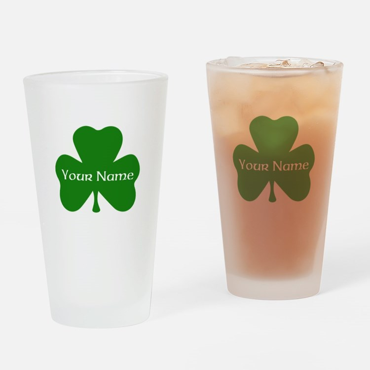 CUSTOM Shamrock with Your Name Drinking Glass
