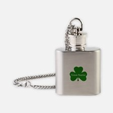 CUSTOM Shamrock with Your Name Flask Necklace