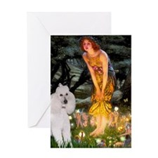 Mid Eve White Poodle Greeting Card