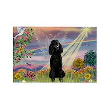 Cloud Angel Black Poodle Rectangle Magnet