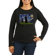 Starry Night Black Poodle T-Shirt