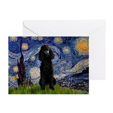 Starry Night Black Poodle Greeting Cards (Pk of 2