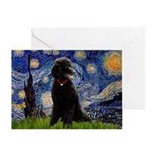 Starry Night Black Poodle Greeting Card