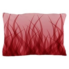Abstract Grass Design Red Pillow Case