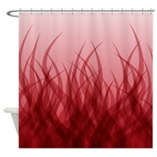 Abstract Grass Design Red Shower Curtain