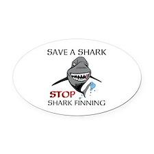 Stop Shark Finning Oval Car Magnet