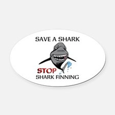 Stop Shark Finning Oval Car Magnet