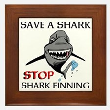 Stop Shark Finning Framed Tile